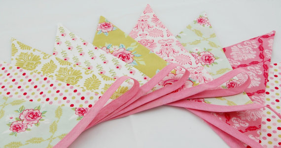 Shabby Chic Party Bunting - Tilda FRUIT GARDEN - 9 flags - 8ft PLUS ties, a perfect decoration for Weddings, Parties and Baby Showers