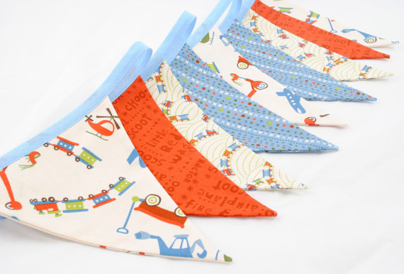 Boys Bunting - SCOOT - 9 flags - 8ft PLUS ties, a perfect decoration for Birthday Parties, Boys Rooms or Playrooms